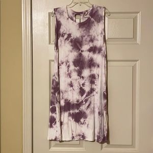 Sleeveless Purple Tie Dye T-Shirt Dress